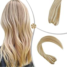 Hetto Secret Flip in Human Hair Extensions Blonde Hairpieces #27/613 Secret Halo Hair Extensions 16inch 80gram Full Head Hair Extensions for Women