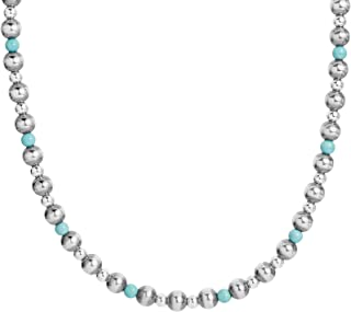 American West Sterling Silver Multi Gemstone Choice of 4 Different Colors Beaded Necklace 15, 24 or 32 Inch