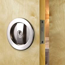 CCJH Invisible Barn Wood Sliding Door Gate Cup Handle Lock Hardware with Keys (Sliver (Dia-2.95