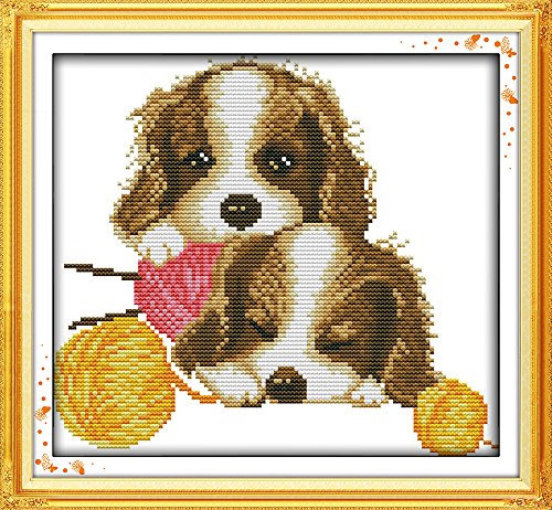 Maydear Cross Stitch Kits Stamped Full Range of Embroidery Starter Kits for Beginners DIY 11CT 3 Strands - Dogs 13×11(inch)