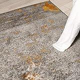 Carpeto Rugs Modern Läufer Flur Teppich Abstrakt Muster - Kurzflor Teppichläufer für Flur, Küche, Schlafzimmer, Esszimmer - Flurläufer in Versch. Größen und Farben - Gelb Gold 70 x 250 cm - 9