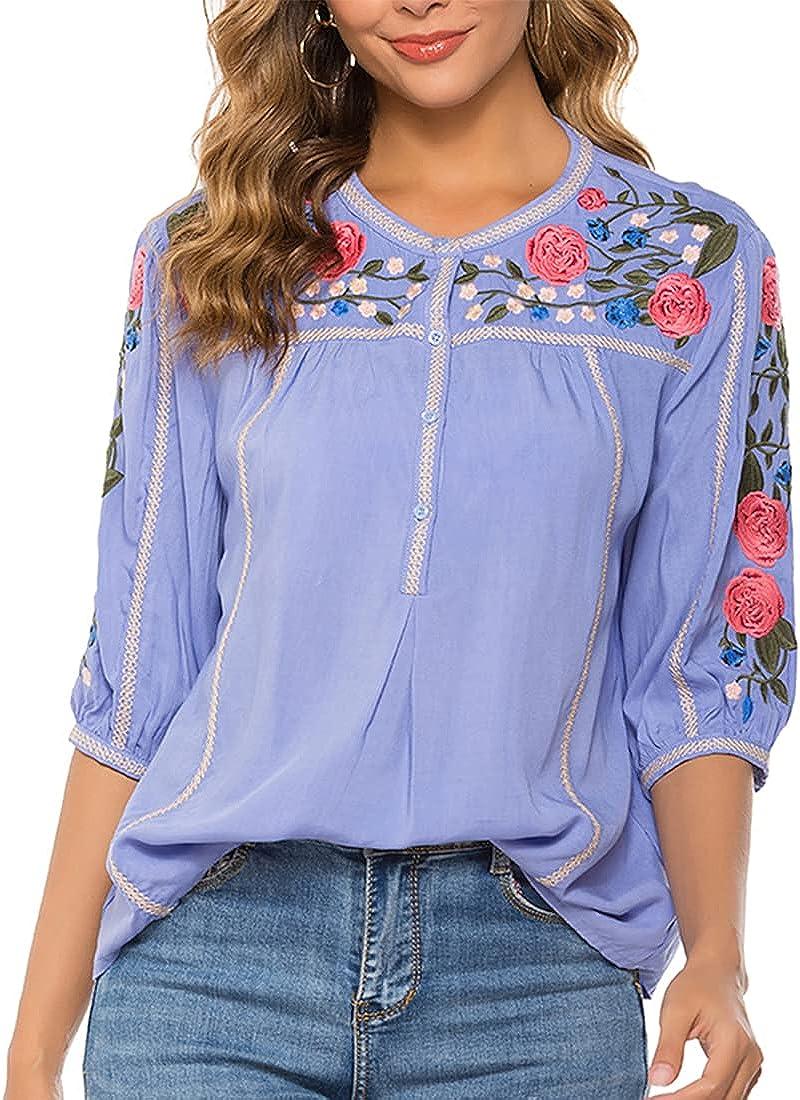 AK Women's Boho Embroidery Mexican Bohemian Tops Shirt Tunic Blouses