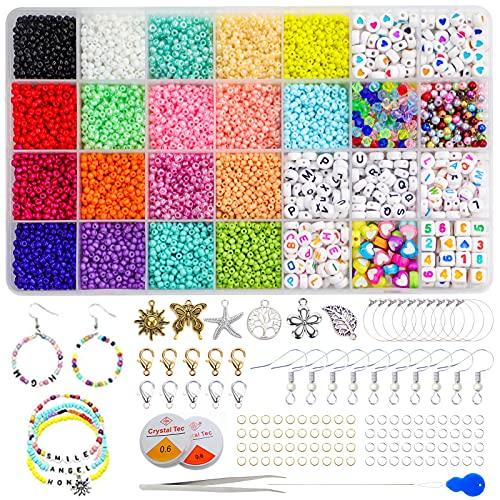 Jinhuaxin 3mm 9102 Pcs Cuentas de colores Abalorios pulseras Kit Abalorios para Hacer Collares para Hacer Collares Pulseras Pendientes Niños Adulto Kit Jewelry Making de DIY