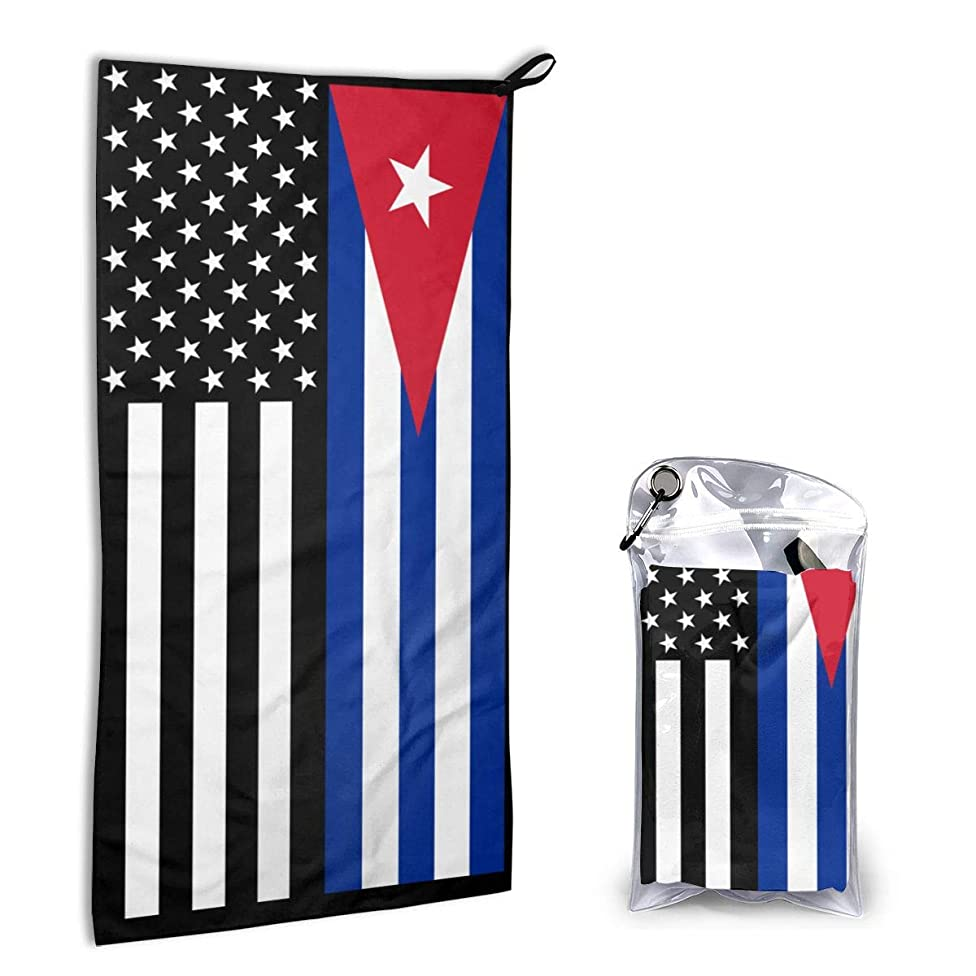 USA Cuba Cuban Flag Microfiber Gym Towels Hair Towel Sports Fitness Workout Sweat Towel Fast Drying 16 Inch X 32 Inch