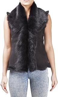 Women's Black Soft Short Suede Toscana Fur Shearling Sheepskin Gilet