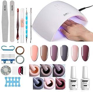 Gel Nail Polish Starter Kit - 6 Colors Gel Polish Set Base Top Coat, 36W LED Nail Dryer Lamp with Full DIY Gel Manicure Na...