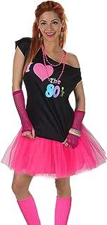 Fun Daisy Clothing Damen I Love The 80er Jahre T-Shirt 80er Jahre Outfit Zubehör