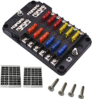 AutoRocking 12-Way Blade Fuse Box Block Holder with LED Lights and Waterproof Dustproof Cover for Automobiles Cars SUVs RVs Buses Yachts Boats 32V