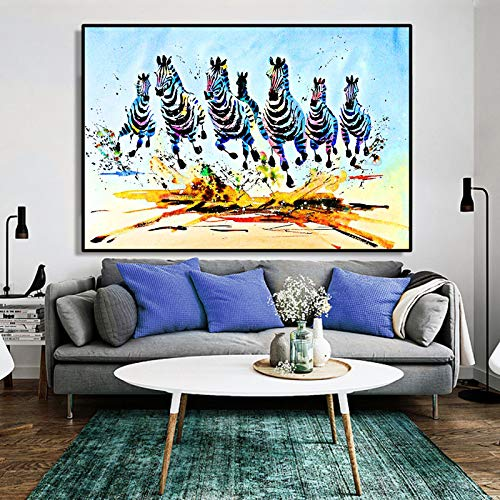 QWESFX Abstraktes Aquarell Tierölgemälde Poster und Drucke Wandkunst Leinwandmalerei Laufende Zebras Bilder für Wohnzimmer Dekor A 35x70cm