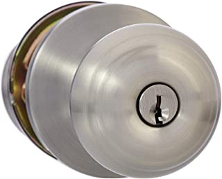 AmazonBasics Entry Door Knob With Lock, Classic, Satin Nickel