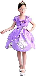 (eones) プリンセスドレス ソフィア風 ミニドレス 4層構造 なりきり 子供 お姫様 キッズドレス 2点セット (150cm)