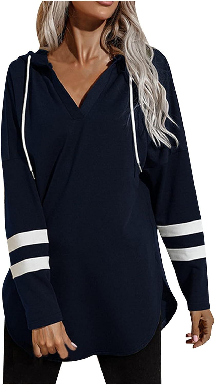 Hoodies for Women Stripe Splicing Drawstring V-Neck Long Sleeve Casual Loose Simple Pullover Sweatshirt