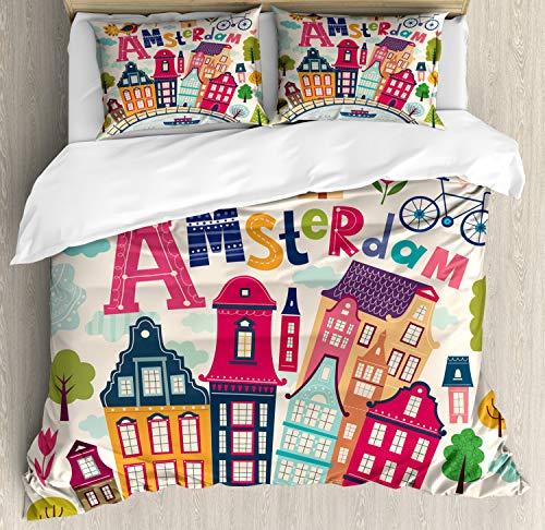 ABAKUHAUS Nederlands Dekbedovertrekset, Cartoon Amsterdam Huizen, Decoratieve 3-delige Bedset met 2 Sierslopen, 230 cm x 220 cm, Veelkleurig