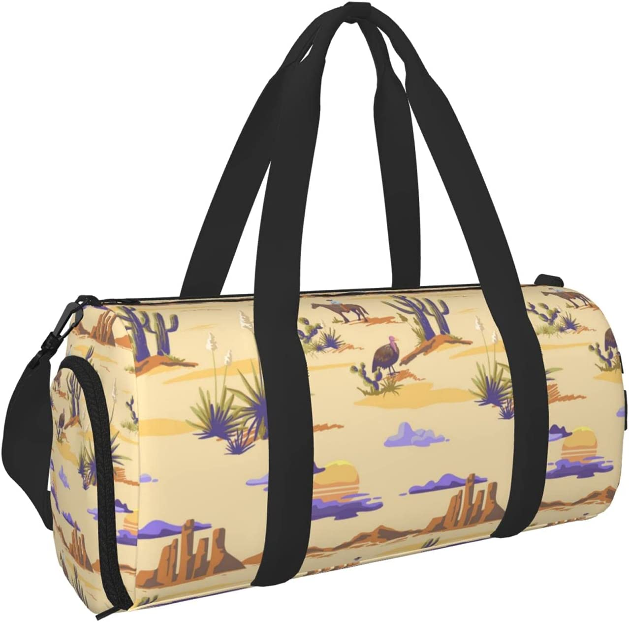 sold out Timeergy Cactuse Mountains Cowboy Sunset Safety and trust Gym B Travel Bag Duffel