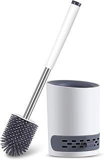 Scopino per WC con Supporto, Kit per La Pulizia del Bagno in Silicone con Spazzola in Setole e Manico Lungo in Plastica, B...