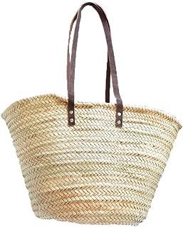 Capazo de Palma básico, con asas larga de cuero curtido estilo rústico. Cesto o Bolso de mimbre para la playa, fibras naturales.