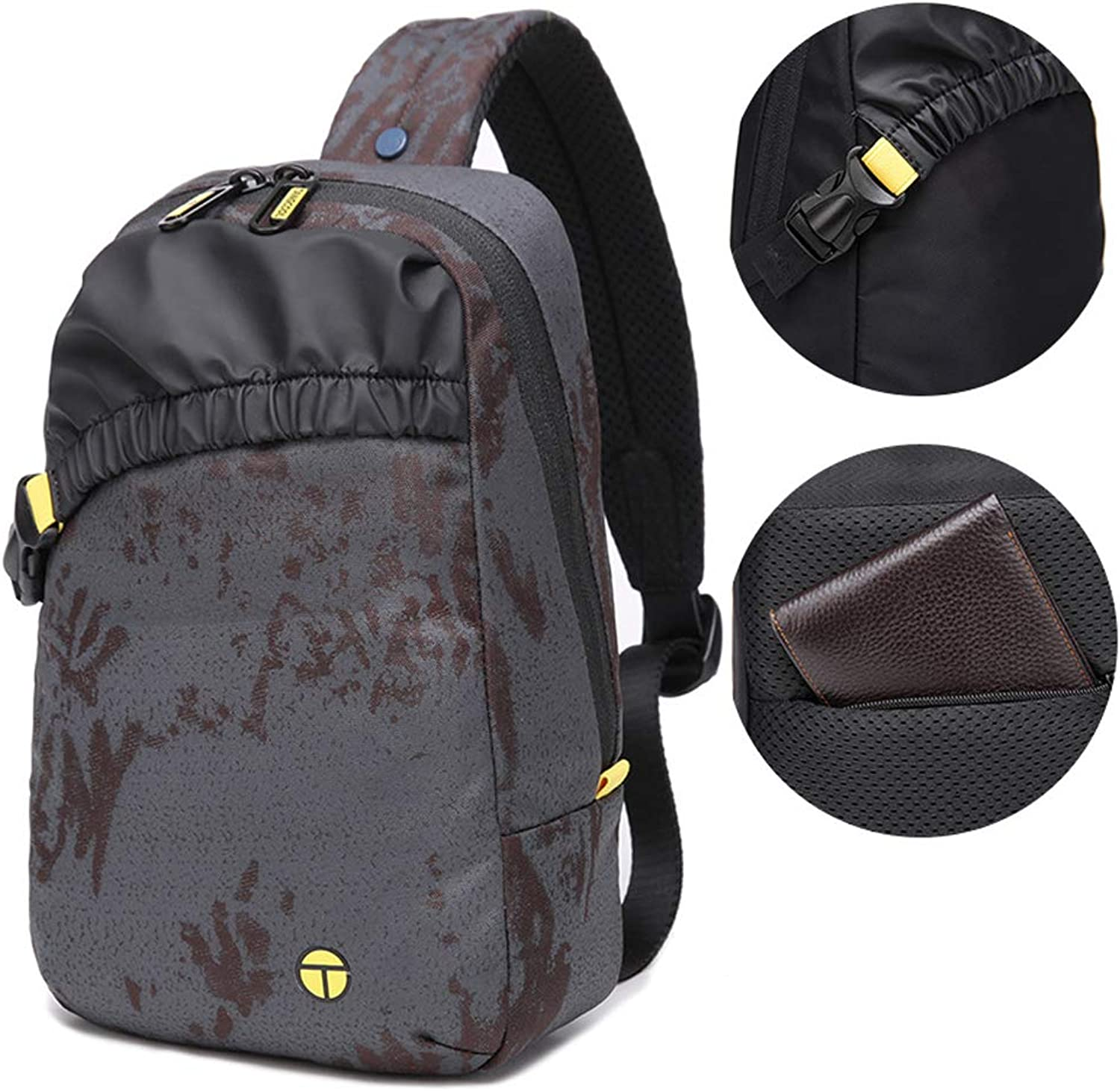 1f1db7f2f Fashion Shoulder Bag Crossbody Bag 25L Oxford Waterproof Chest Bags for  Students (Grey Camouflage) noufbk2466-Sporting goods