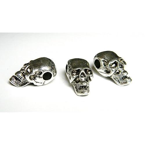 10 Metal Skull Beads Chrome//Black//Bronze//Gold Paracord Bracelets US Seller