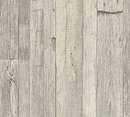 A.S. Création Vliestapete Dekora Natur Tapete in Vintage Holzoptik 10,05 m x 0,53 m beige creme grau Made in Germany 959311 95931-1
