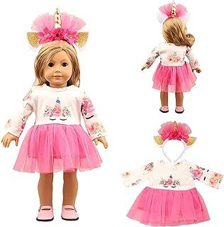 لباس عروسک دخترانه لاتازی لباس تک شاخ شامل لباس و سربند ، برای لباس و لوازم عروسکی 18 اینچی آمریکایی (ست لباس تک شاخ) مناسب ترین هدیه برای دختران (قرمز رز)