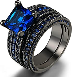 Man's/Women's Black Alloy Ring Black/Blue Carbon Fiber Inlay Polished Finish Edges Comfort Fit