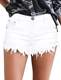 MODARANI Frayed Denim Shorts for Women Mid Rise Jean Shorts Ripped Raw Hem Comfy