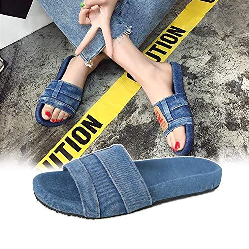Zapatillas De Mezclilla Con Estilo De Las Mujeres, Zapatillas úNicas Antideslizantes De Moda, Zapatos Casuales, Zapatillas Para Mujeres Y Hombres, Ducha De Masaje, BañEra De Hidromasaje 38 Azu
