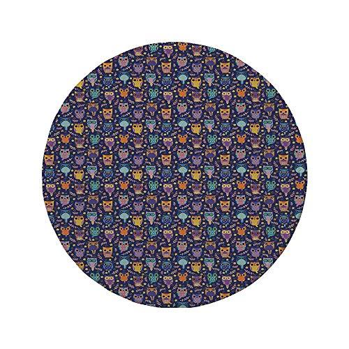 Rutschfreies Gummi-Rundmaus-Pad Eulen Blattzweige und kleine Sterne Süße Comic-Vögel Bunte reichhaltige romantische Ornamente mehrfarbig 7.9