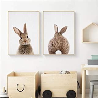 qiumeixia1 Bunny Rabbit Tail Canvas Painting Nursery Wall Art Animal Poster and Print Nordic Woodland Picture for Baby Kids Room Home Decor 5070 cm No Frame