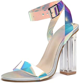 KLAUR MELBOURNE Women 4 Inch Transparent Block Heel Party Sandals 204