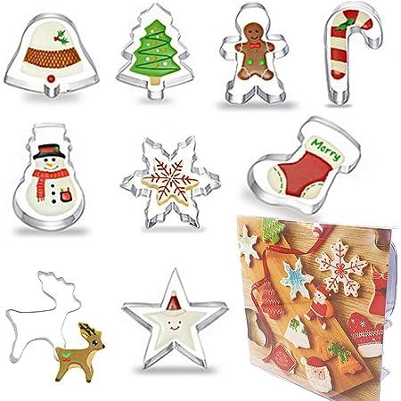 HaimoBurg Lot de 9 Noël Emporte-pièces en Acier Inoxydable pour Décoration de Gâteau Fondant Biscuit Cookie Pâtisserie