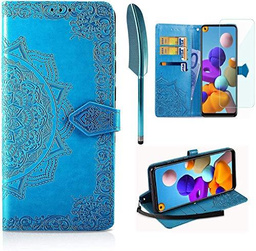 AROYI Funda Compatible con Xiaomi Poco M3 y Protector de Pantalla, Funda Libro Protectora Piel PU Soporte Plegable Ranura para Tarjeta Magnético Cuero Flip Carcasa Case, Azul