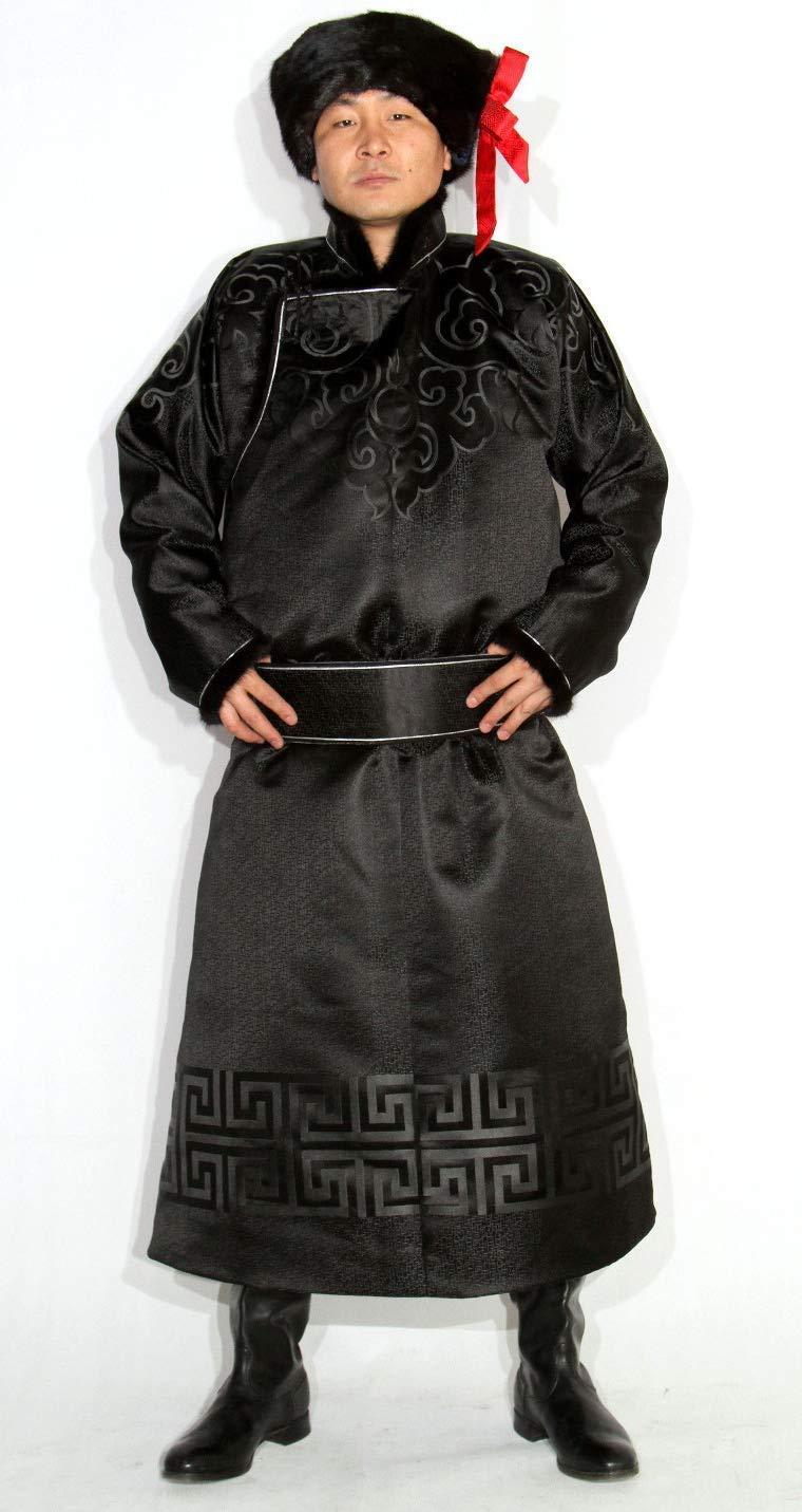 Free Shipping Cheap Bargain Gift Mongolian Men's Shipping included Black Deel Clothing