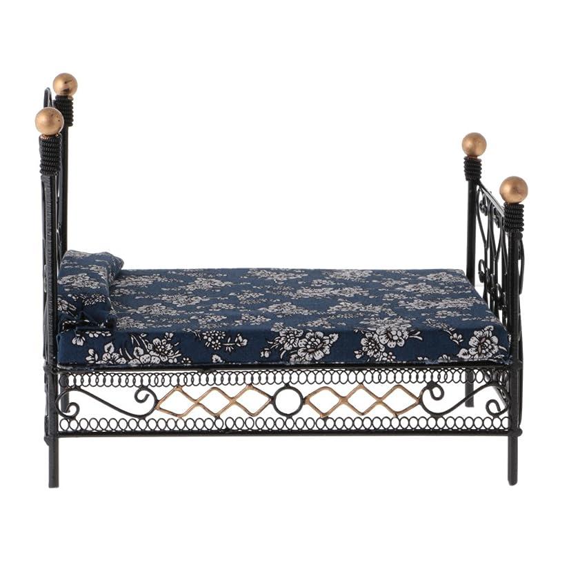 役に立つ制約リハーサルメタル&布製 ミニチュア レトロ  ダブルベッド  ベッドルーム  家具 1/12 ドールハウス装飾