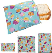 3PCS Reusable Snack Bags Sandwich Bread Food Storage Bags Heating Pastry Tools For Camping Travel Hiking Lunch Waterproof ...