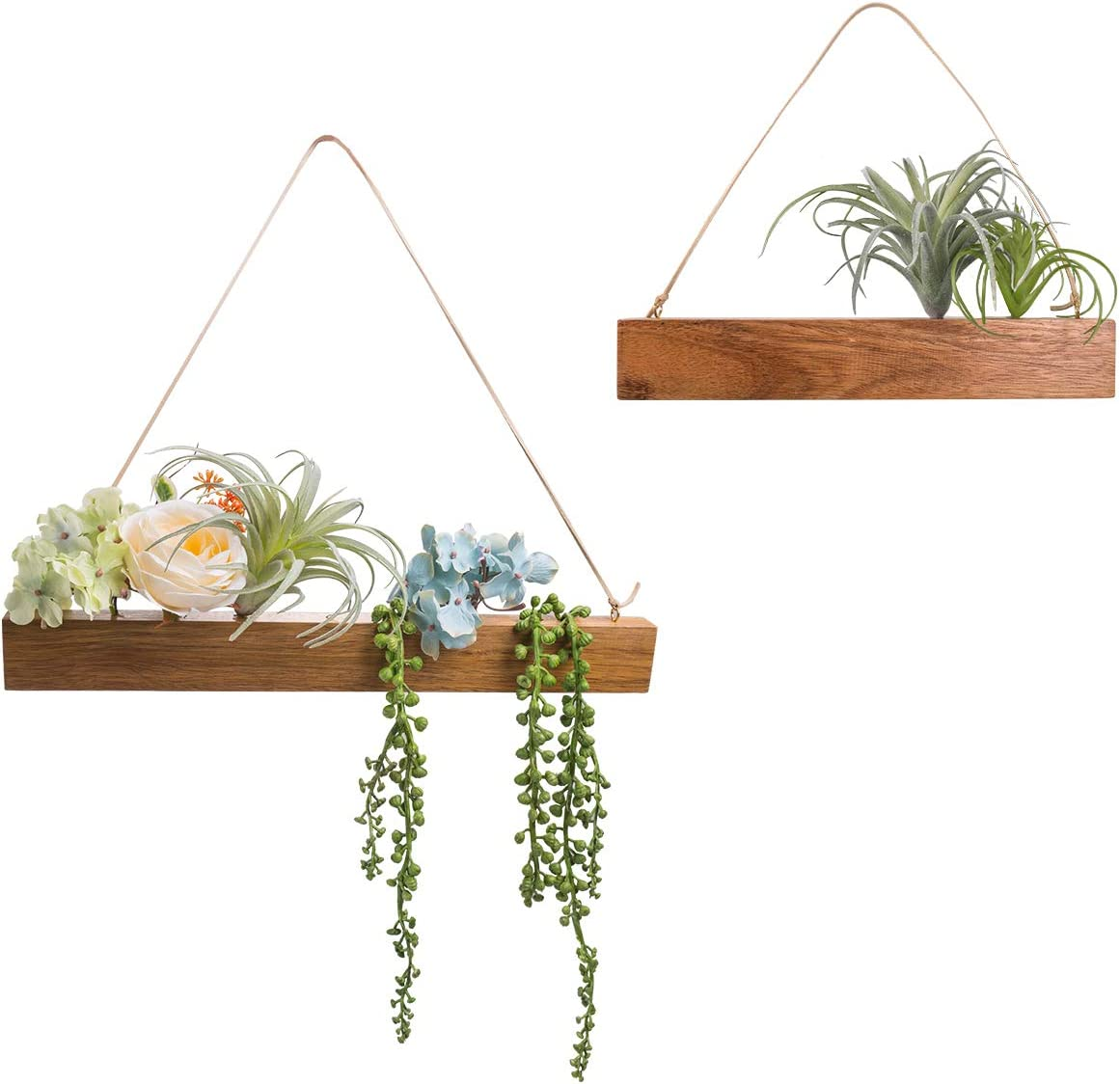 C&Z Hanging Wall Artificial Plants for Home Decor Indoor Set of 2 Succulents Plants and Flowers Floral Greenery Wall Decor Faux Plants for Living Room Nursery Backdrop