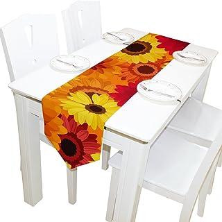 MASSIKOA Autumn Flowers Washable Rectangular Kitchen Table Runner for Dinner Wedding Party Decor 13 x 90 inch