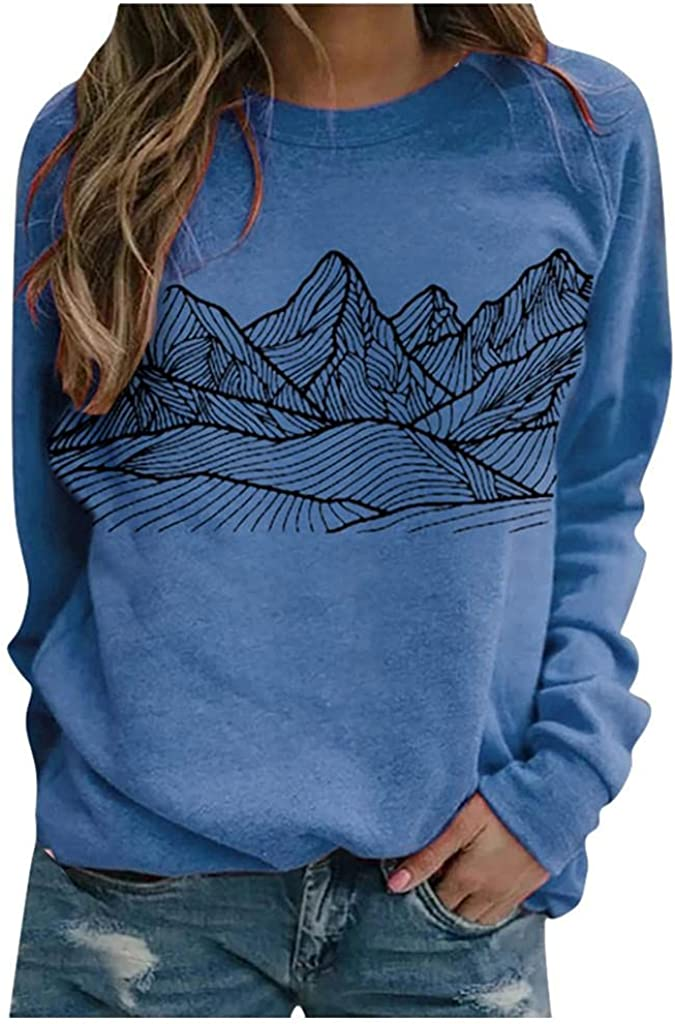 Sweatshirt for Women Graphic,Womens Crewneck Sweatshirts Vintage Printed Long Sleeve Sweaters Pullover Tops