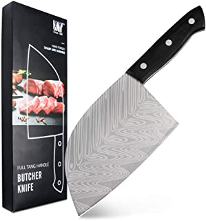 XYJ 3CR13 Stainless Steel Butcher Knife with Damascus Laser Pattern Blade Full Tang Serbian Chef Knife Cleaver for Meat Fi...