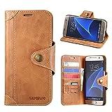 LENSUN Samsung Galaxy S7 Hülle, Handyhülle Handytasche Samsung Galaxy s7 (5.1 Zoll) Leder Tasche Huelle Flip Hülle Ledertasche Schutzhülle - Braun (S7-GT-BN)