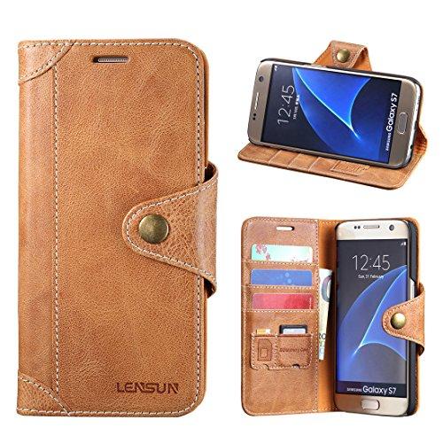 LENSUN Echtleder Hülle für Samsung Galaxy S7, Lederhülle mit Magnetverschluss Echtes Leder Handyhülle Handytasche kompatibel mit Galaxy S7 (5,1 Zoll)- Braun