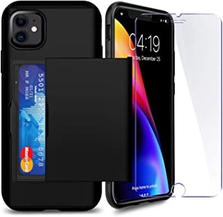 iPhone 11 Case with Card Holder and[ Screen Protector Tempered Glass x2Pack] SUPBEC i Phone Wallet Case Cover with Shockproof Silicone TPU + Anti-Scratch Hard PC - Full Protective-2019-6.1