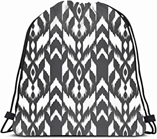 Ahawoso Gym Drawstring Bags Backpack String Bag 14X16 Material Gray Aztec Modern Carpet Hipster Pattern Canvas Tribal Graphic Ikat Rhombus Abstract Mexican Sport Sackpack Hiking Yoga Travel Beach