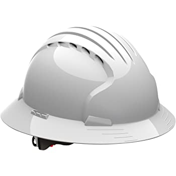 Evolution Deluxe 6161 280-EV6161-10V Full Brim Hard Hat with HDPE Shell, 6-Point Polyester Suspension and Wheel Ratchet Adjustment Vented, White
