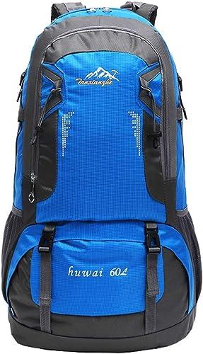 QIULAO 60L Randonnée à Dos Sac à Dos étanche en Plein Air Sac à Dos en Plein Air Sport Sac à Dos pour Escalade Alpinisme Camping Pêche Voyage Vélo (Couleur   bleu)