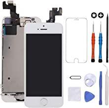 GULEEK for iPhone 5s/Se Screen Replacement White Touch Display LCD Digitizer Full Assembly with Front Camera,Proximity Sensor,Ear Speaker and Home Button Including Repair Tool and Screen Protector