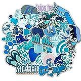 YOUKU Azul pequeño Casco Fresco Taza de Agua Coche eléctrico Carrito de Equipaje portátil Coche Pegatinas de Graffiti Impermeables 50 Hojas