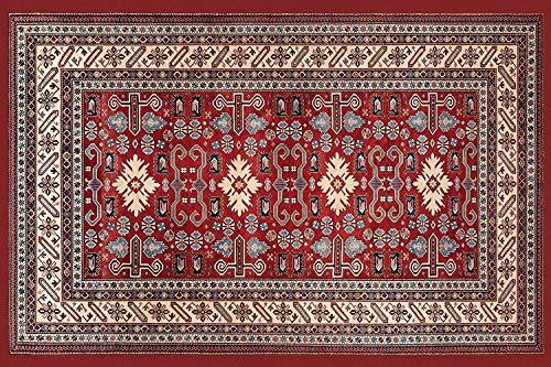 HomeLife Persian Tapijt, Oosters, wasmat voor woonkamer, slaapkamer, woonkamer, met anti-slip vloer, digitale druk, oosterse kleur rood