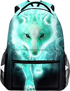 Lightweight Cool Cyan Wolf Backpacks Girls School Bags Kids Bookbags