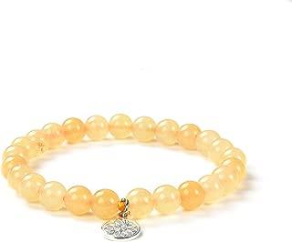 Crystal Agate Yellow Aventurine Healing Bracelet| Solar Plexus Chakra Gemstone Beads Crystal Round Spiritual Jewelry with Stretchy Fit | Unisex Women Girls